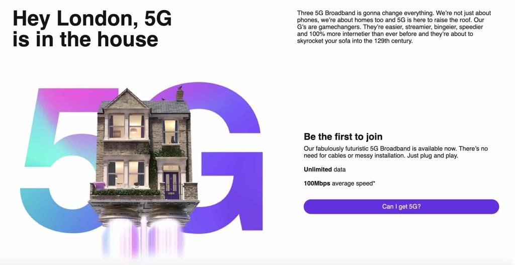 three uk 5G broadband London unlimited, Three UK launches 5G Broadband in London to start with